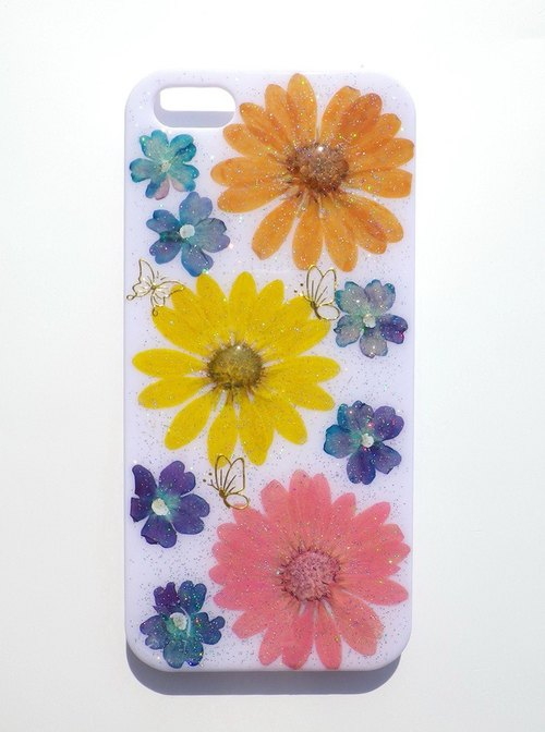 Anny's workshop hand-made pressed flower phone case for iphone 5 / 5S and SE, south one hundred chrysanthemum series