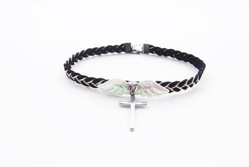 Black choker / necklace with white angle wing and silver cross.