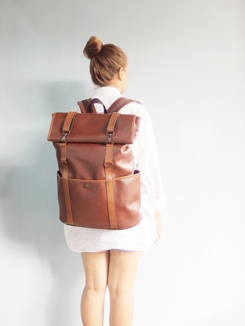 Vintage Retro PU Rucksack Backpack / waterproof backpack with roll up top lightweight luggage Color : Red Brown