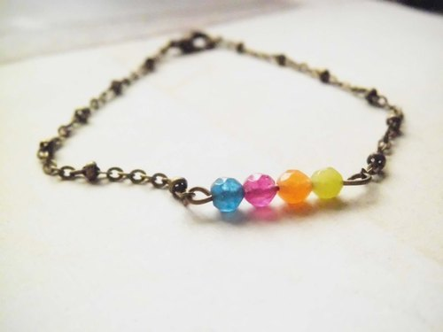 ﹉karbitrary﹉ ▲ ---⊕--- Series four-color rainbow chalcedony natural stone bracelet