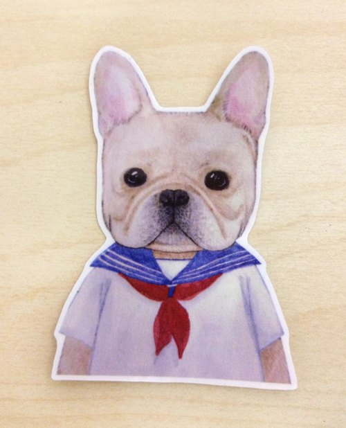 Dress small pets series - watercolor painted sailor transparent stickers French Bulldog