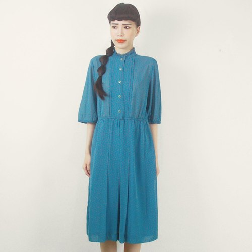 Blue-green small lotus leaf short-sleeved chiffon vintage dress