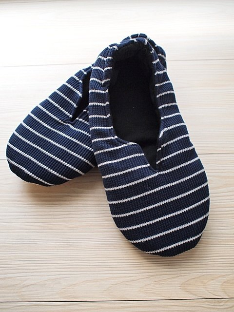 hairmo. Dark blue striped indoor warm slippers (spot)