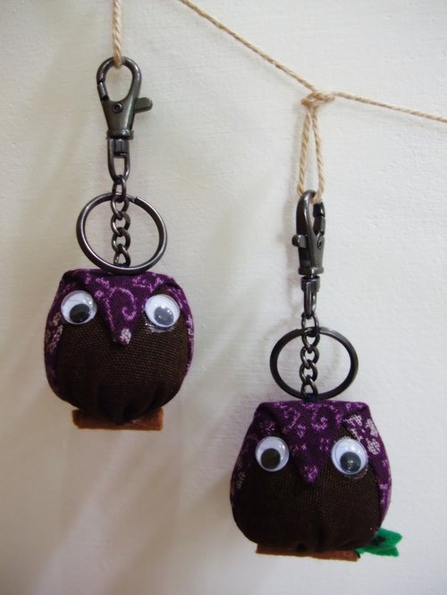 § BoBo Pig § valentine wedding small birthday gift was an owl key ring set - Purple -