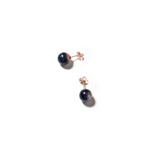 LUZID • THE DOT series of little blue marbled wire earrings