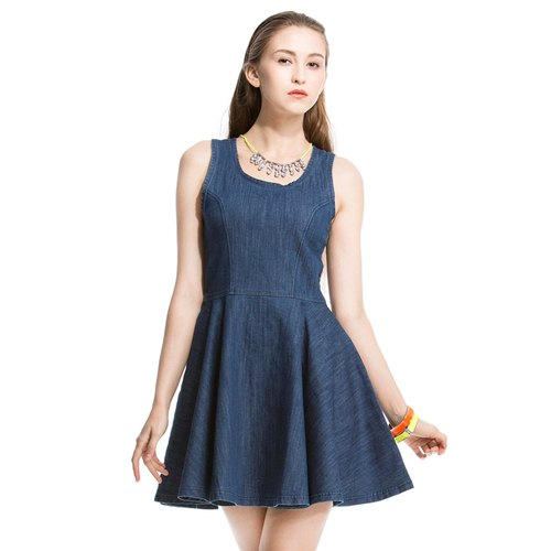 [DEF.IT] Something New Love - zipper color dark blue denim dress ◎