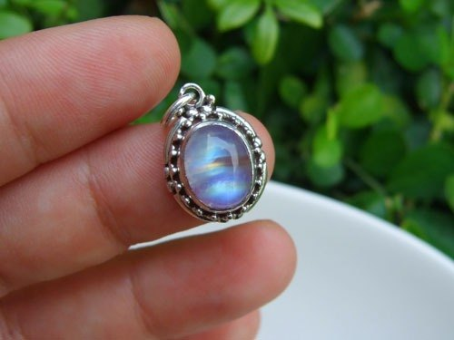 ♦ My.Crystal ♦ Rainbow Moonstone Silver Pendant