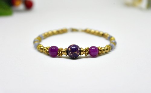 Natural stone bracelet _ x brass button purple border can be changed elastic bracelet // // Emperor # # # stone opal #