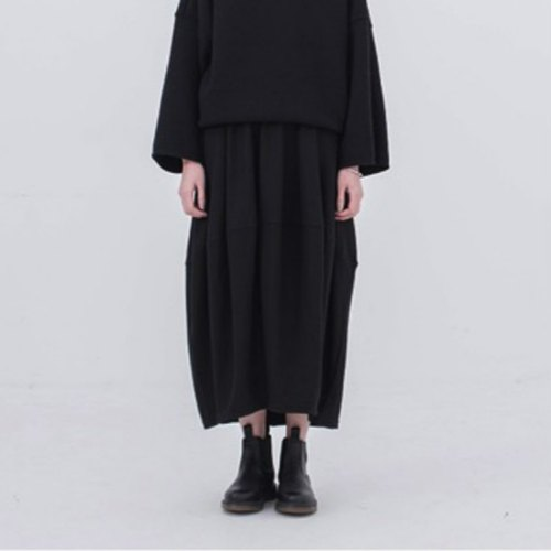 Black dimensional cut Yamamoto Diablo heavy wind shirring elastic waist 95% wool skirt dress in neutral wind minimalist silhouette | vitatha Fan Tata independent design women's brands