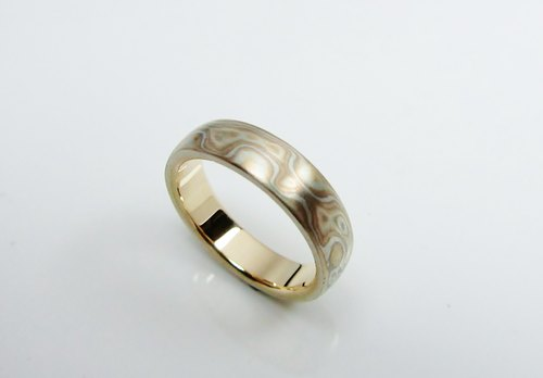 Element 47 Jewelry studio~ Karat gold mokume gane wedding ring 04 (18KY/14KW/925)