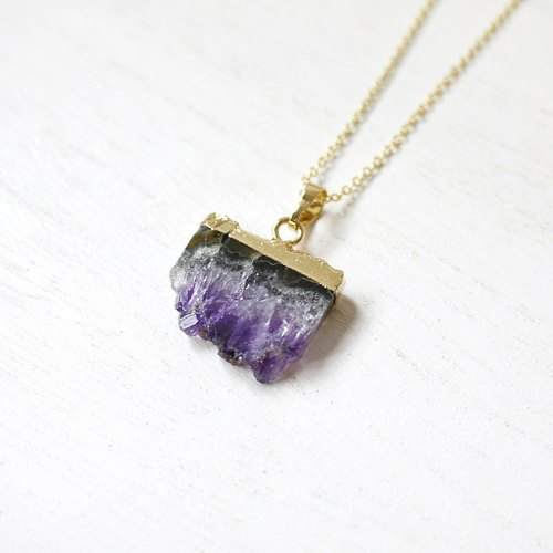 (Limited) cathartic A_ amethyst stone | gold-plated necklace / 013 /