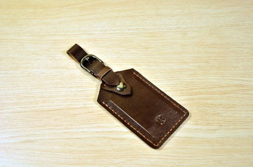 **Customized**Happy travel! MICO hand sewn leather luggage tag