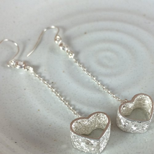 Wide version - Yao heart - sterling silver earrings