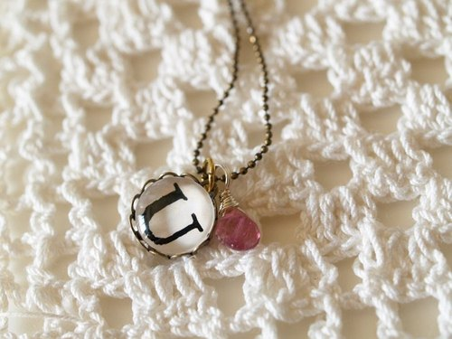 ♥ valentines ♥ ​​OldNew Lady- letters and diamond necklace -U + pink tourmaline