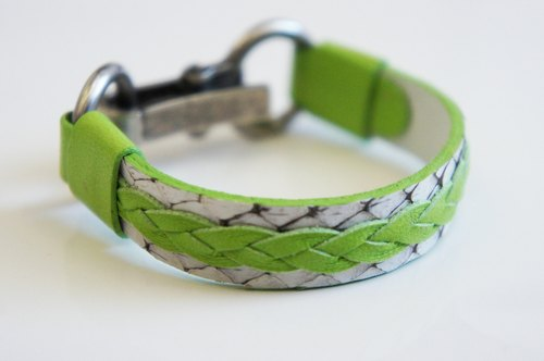 Bright grass green leather braided white boa basal industrial wind cramping metal buckle hand-made leather PdB New York