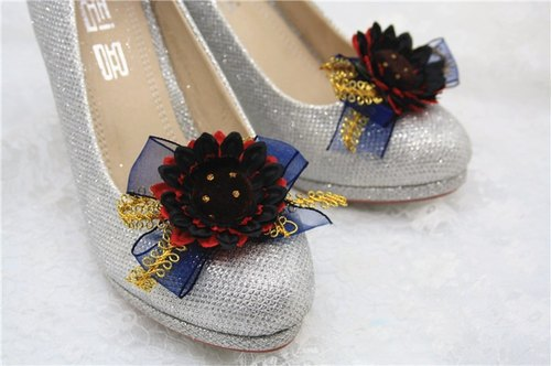 Peach chiffon gold petal shoes clips decoration high heel shoes wedding bridal