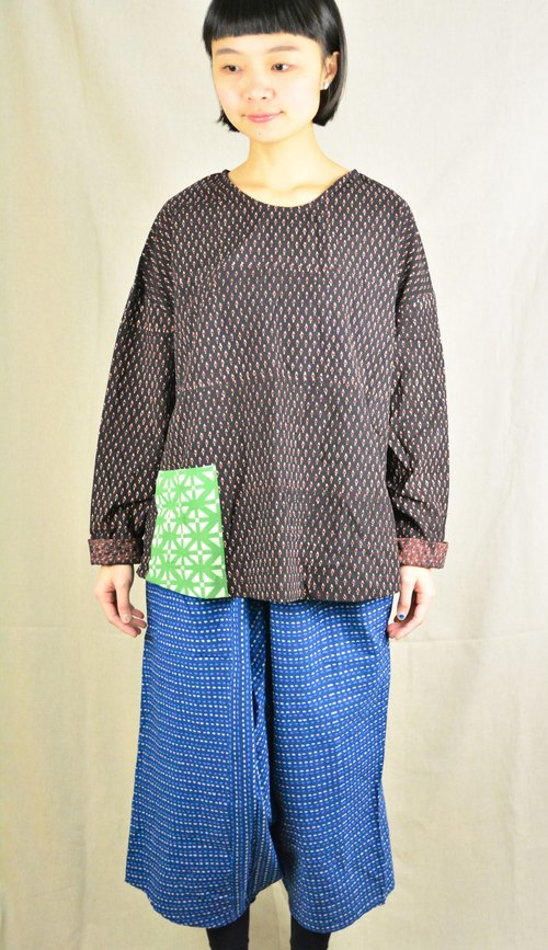Eye color woodcut ink long-sleeved shirt _ fair trade