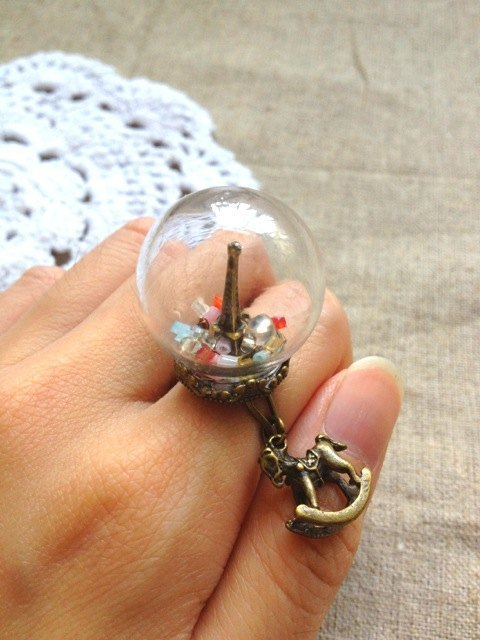 [Imykaka] ♥ crystal ball Eiffel Tower in Paris, France Trojans rings Valentine's Day gift