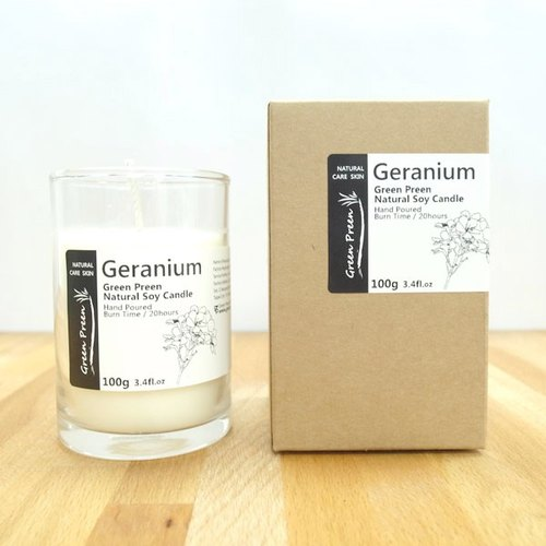 "[Green machine Garden Green Plus] hand-natural soy oil candle ""geranium"" (100g)"