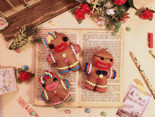Skilled Cat Cat [x] Urban Couple Group * Gingerbread Man (gift bag + carton) pure hand-stitched Christmas custom name Memorial puppet hanging ornaments / key ring gift exchange