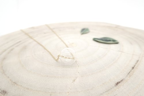 Simple 14K gold necklace small bubble glass