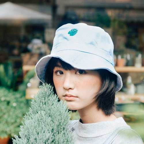 Monstera Leaf on Baby Blue Hat