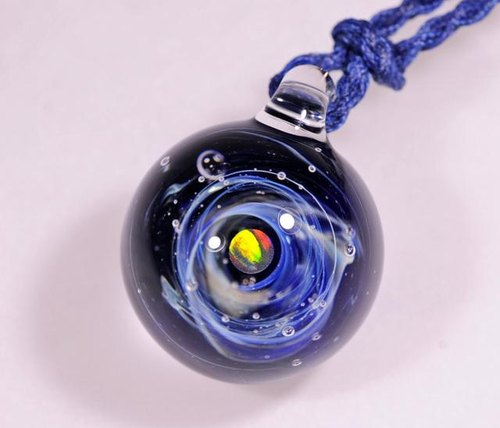 Microcosm microcosmos sea and sky and ... cobalt blue # 25 sphere spaceball opal Marble type glass pendant
