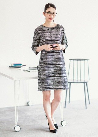 "Earth tree fair trade- ""organic cotton clothing"" - organic cotton black and white striped dress (only L)"