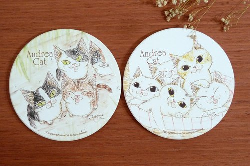 Wealthy Street cat ceramic coaster series / blues, Porphyry and siblings Shipping Group