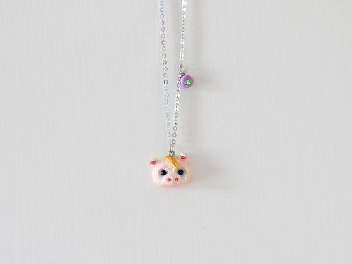 Little Pig polymer clay necklace - Animal necklace