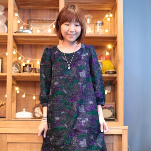 Purple green block sleeve dress