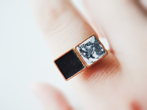 MARBLE SQUARE RING- black square ring / manual hand-made / Accessories Gifts