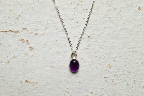 [Wisdom Stone > 925 sterling silver amethyst short practice. Amethyst Necklace]