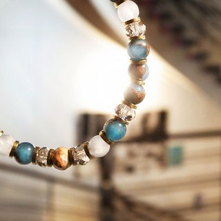 """Scored eternal"" blue sky Love Xi Qu bracelet handmade retro brass"