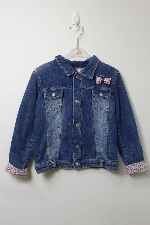 Floral cloth denim jacket