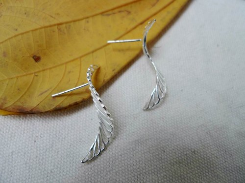 FLOW_re leaf silver leaf earrings