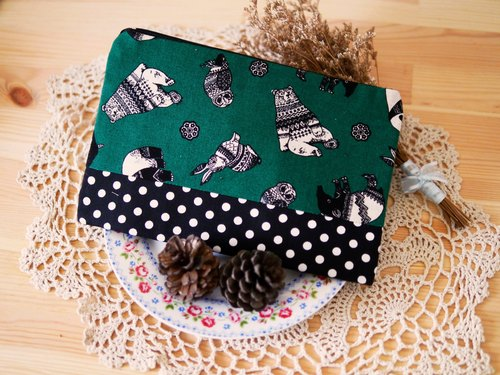 Ethnic zoo housed Pencil Pouch (Green) -L