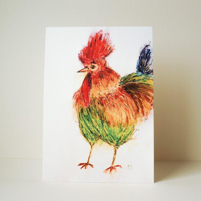 明信片 雞先生肖像畫