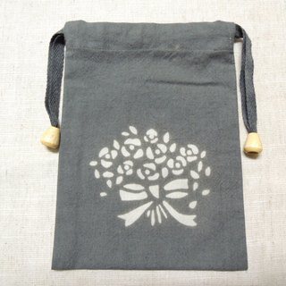 Mumu [vegetation] Terminalia leaf vegetable dyes stained dark gray drawstring bag (bouquet paragraph)