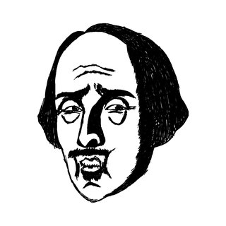 Shakespeare pique square wood rubber stamp