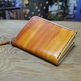 Lovey leather Accessories / wood - natural vegetable tanned leather, hand-made Japanese hand-stitching leather short wallet
