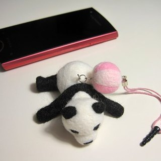 Wool felt panda lying rub - headphone plugs + screen cleaning brush