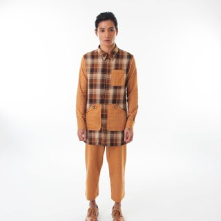 Sevenfold - Bicolor plaid stitching shirt color stitching Plaid shirt (brown)