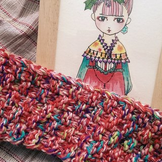 Lan hand knit headband for the summer (colorful vermilion)