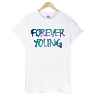 Forever Young-Galaxy-sleeved T-shirt - white forever young galactic cosmic triangle Wen Qing fashion design own brand fashionable round