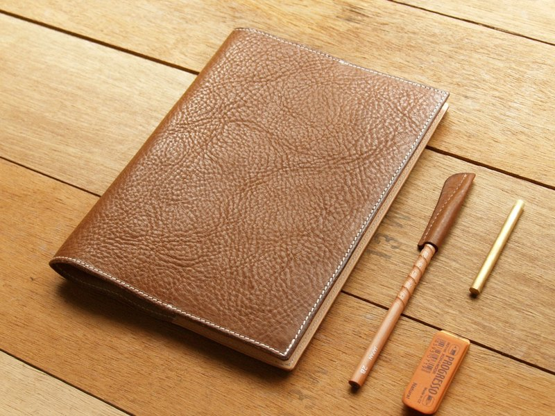 Leather Book Sleeve A5 ( Custom Name ) - Coffee Milk