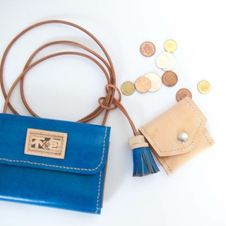 Do not hit Bao Bao blue three plus one tanned leather leather full leather clutch