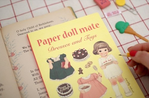 Korea [Afrocat] papaerdoll line notebook <Sally> Vintage doll diary notes memo PDA
