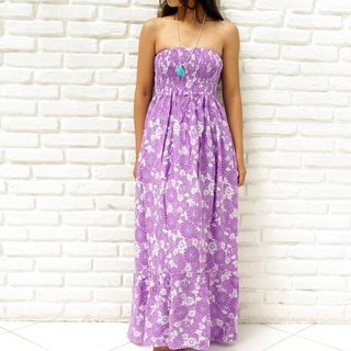 Margaret print Strapless Ruffle Dress <Purple>