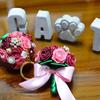 CAmelliaT camellia bouquet jewelry keyring cat * [Red Rose] * was * sisters small wedding ceremony
